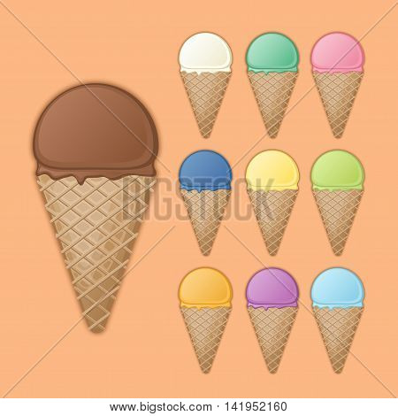 Big chocolate cone with various fruit ice cream. Set of colorful sweet waffle cones and ice cream scoops with different flavors and colors. Vector illustration on a dark background with shadow.