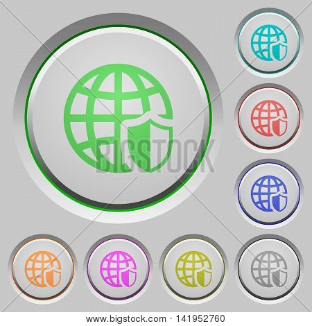 Set of color internet security sunk push buttons.