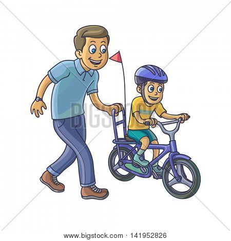 Father learn his little son to ride a bicycle. Vector Illustraion.
