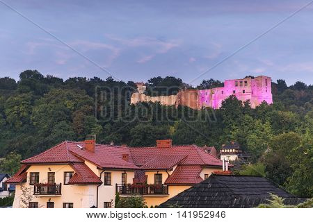 Ruins of the castle in Kazimierz Dolny during sunset Poland