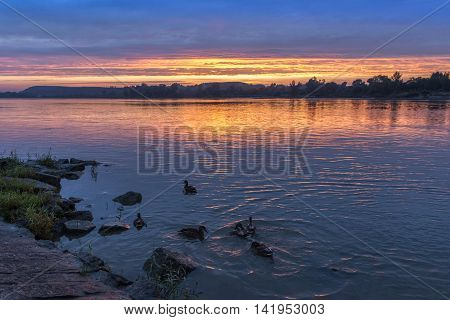 Sundown over Vistula river in Kazimierz Dolny Poland