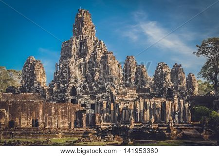 Bayon Temple in the Angkor complex in Cambodia
