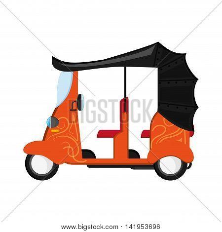 flat design orange rickshaw or tuk tuk icon vector illustration