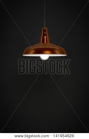 3d rendering of a red lamp in front of a dark wall with space for your content