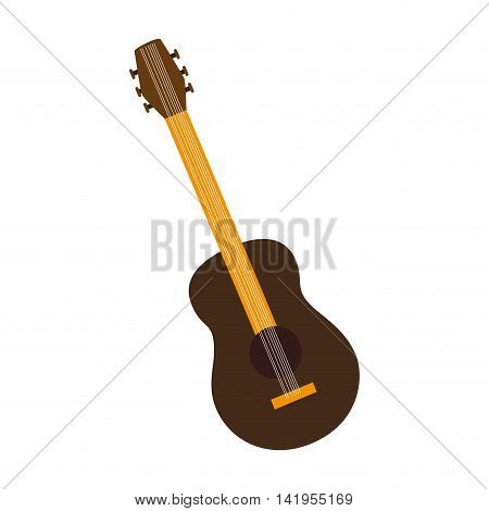 Music instrument guitar isolated flat icon colorful design