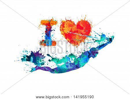 I love swimming. Swimmer of plash paint