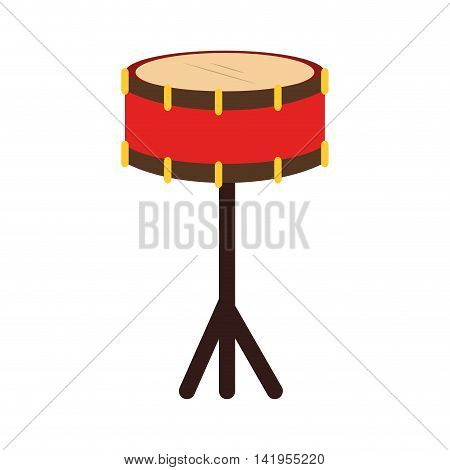 Music instrument drum isolated flat icon colorful design