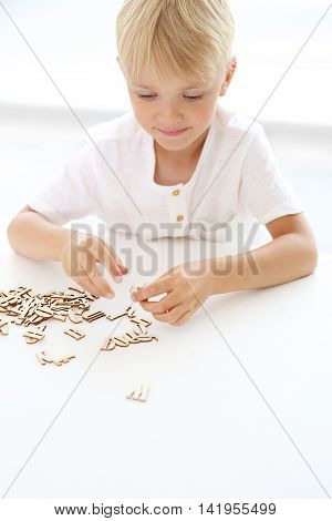 Educational fun, little boy puts puzzle .