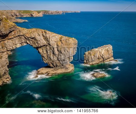 The Green Bridge of Wales, Pembrokehire. Wales A famous landmark on the Pembrokeshire coast