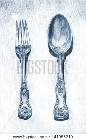 Pencil drawing fork and table spoon