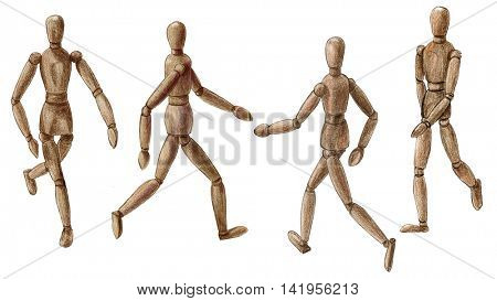 Pencil drawing wooden walking man isolated on white background