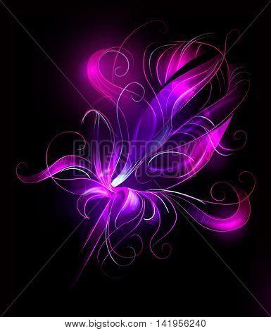 Abstract purple flower over black background - artistic sketch illustration