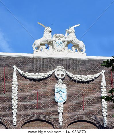 AMSTERDAM NETHERLANDS 01 10 2015: Beautiful 19th century art nouveau architecture that can be found throughout the entire city. The art nouveau movement did have a lasting impact on Amsterdam.