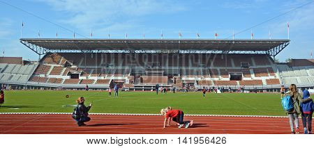 AMSTERDAM NETHERLAND OCTOBER 3 2015: Inside of the Amsterdam Olympic stadium of Games of the IX Olympiad, was built as the main stadium for the 1928 Summer Olympics