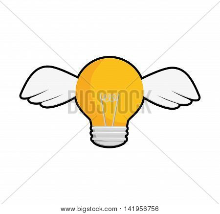 light bulb wings big idea creativity icon. Isolated and flat illustration. Vector graphic