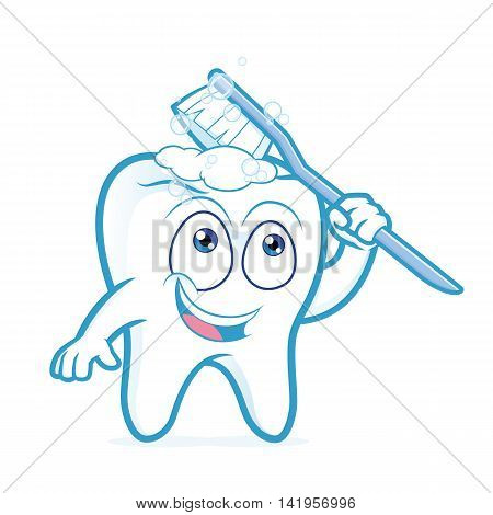 Clipart picture of a tooth cartoon character brushing itself