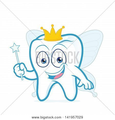 Clipart picture of a smiling tooth fairy cartoon character