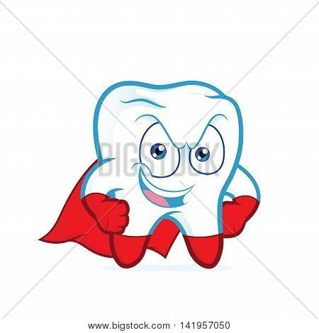Clipart picture of a superhero tooth posing cartoon character