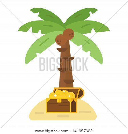 Illustration of deserted treasure island. Travel sand green palm beach treasure island map symbol, ocean chest cartoon adventure. Antique summer box with gold money treasure island vector.
