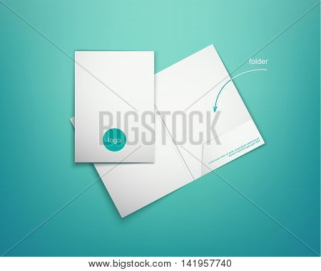 Realistic white presentation folder on a blue background with shadows. Closed and open corporate folder with the logo. Vector illustration. Folder mockup on turquoise background