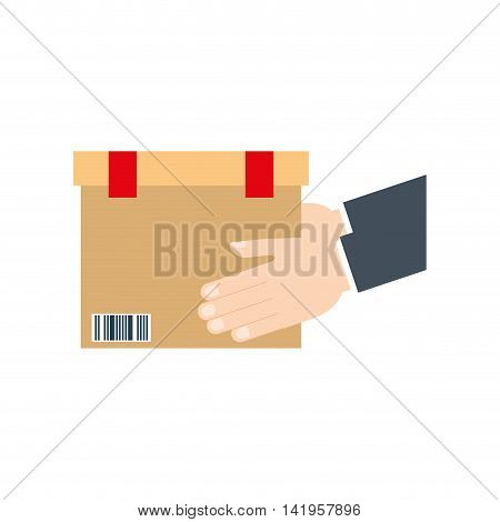 box package hand delivery shipping icon. Isolated and flat illustration. Vector graphic