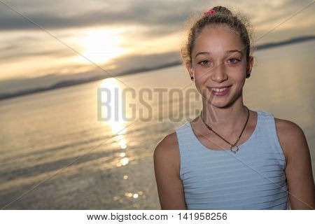 A portrait of teen age vacation relaxing seaside great time