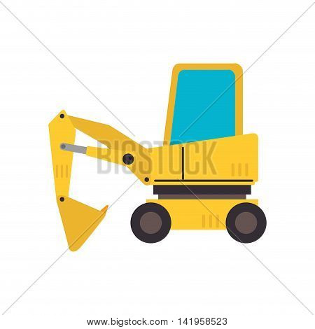 under construction backhoe, isolated flat icon design