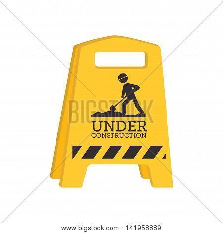barrier under construction, isolated flat icon design