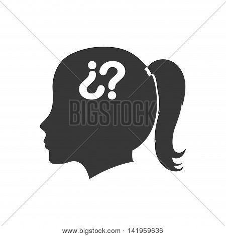 question mark woman head ask why icon. Isolated and flat illustration. Vector graphic