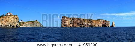 Panoramic of The Rocher Perce in Perce city, Gaspesie in Quebec province.