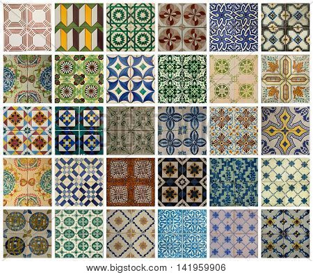 Collage of different colors pattern tiles in Lisbon, Portugal