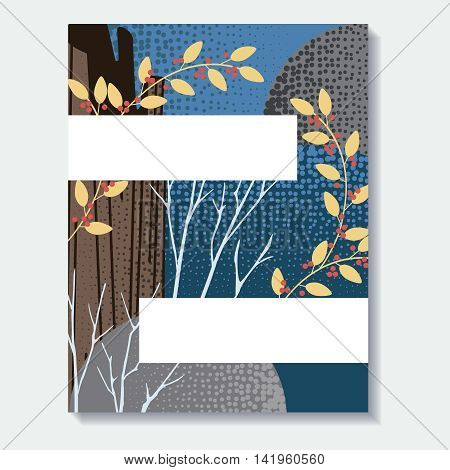 Stylized autumn forest design. US Letter size. Easily croppable to A4 size. Graphics are grouped and in several layers for easy editing. The file can be scaled to any size.