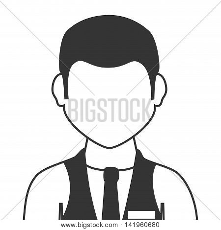 young male waiter, isolated flat icon design