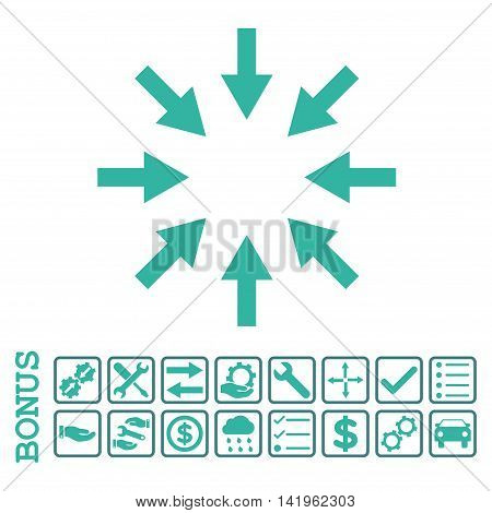 Compact Arrows icon with bonus pictograms. Vector style is flat iconic symbol, cobalt and cyan colors, white background. Bonus style is bicolor square rounded frames with symbols inside.