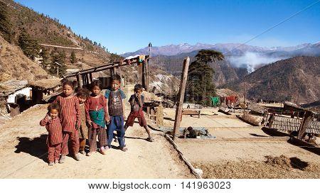 RARA NATIONAL PARK WESTERN NEPAL 27th NOVEMBER 2013 - group of small children in western Nepal near Rara lake