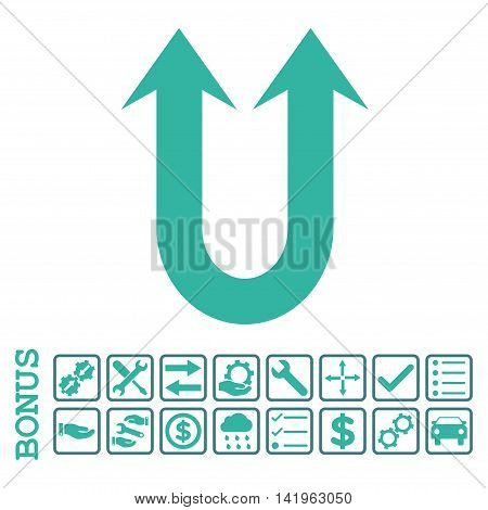 Double Forward Arrow icon with bonus pictograms. Vector style is flat iconic symbol, cobalt and cyan colors, white background. Bonus style is bicolor square rounded frames with symbols inside.