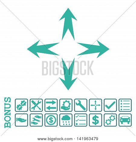 Expand Arrows icon with bonus pictograms. Vector style is flat iconic symbol, cobalt and cyan colors, white background. Bonus style is bicolor square rounded frames with symbols inside.