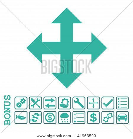 Expand icon with bonus pictograms. Vector style is flat iconic symbol, cobalt and cyan colors, white background. Bonus style is bicolor square rounded frames with symbols inside.