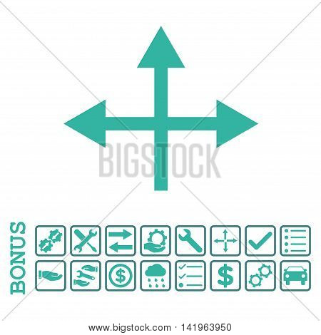Intersection Directions icon with bonus pictograms. Vector style is flat iconic symbol, cobalt and cyan colors, white background. Bonus style is bicolor square rounded frames with symbols inside.