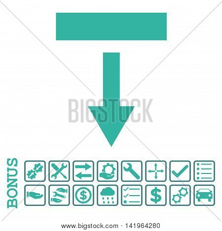 Pull Down icon with bonus pictograms. Vector style is flat iconic symbol, cobalt and cyan colors, white background. Bonus style is bicolor square rounded frames with symbols inside.