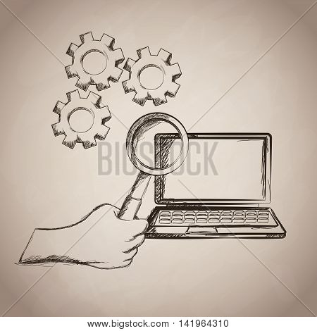 hand lupe laptop gears business work icon. Isolated and sketch illustration. Vector graphic