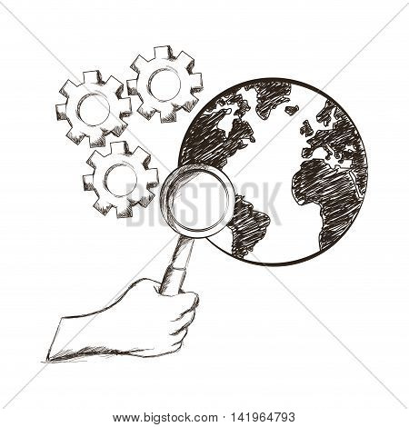 hand lupe gears planet business work icon. Isolated and sketch illustration. Vector graphic