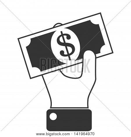 money billet hand, isolated flat icon design