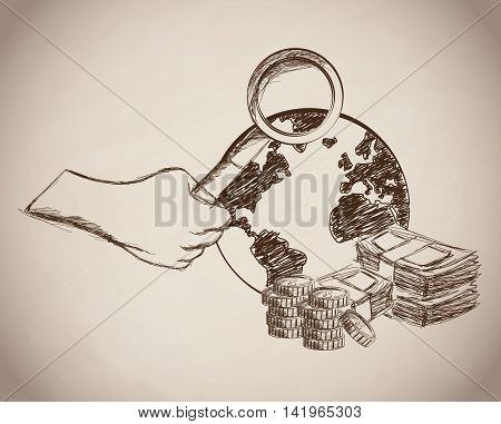 bills lupe coins planet money business icon. Isolated and sketch illustration. Vector graphic