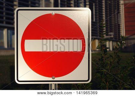 do not enter traffic sign evening light