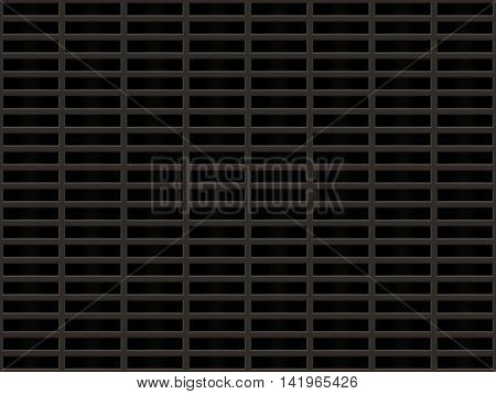 Metal grille with rectangular dark cells.