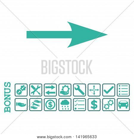 Sharp Arrow Right icon with bonus pictograms. Vector style is flat iconic symbol, cobalt and cyan colors, white background. Bonus style is bicolor square rounded frames with symbols inside.