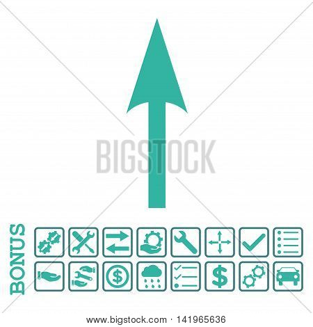 Sharp Arrow Up icon with bonus pictograms. Vector style is flat iconic symbol, cobalt and cyan colors, white background. Bonus style is bicolor square rounded frames with symbols inside.