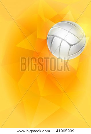 Vertical Background with Flying Volleyball Ball on Unusual Triangular Background. Realistic Editable Vector Illustration.