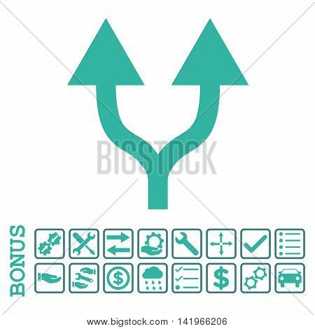 Split Arrows Up icon with bonus pictograms. Vector style is flat iconic symbol, cobalt and cyan colors, white background. Bonus style is bicolor square rounded frames with symbols inside.